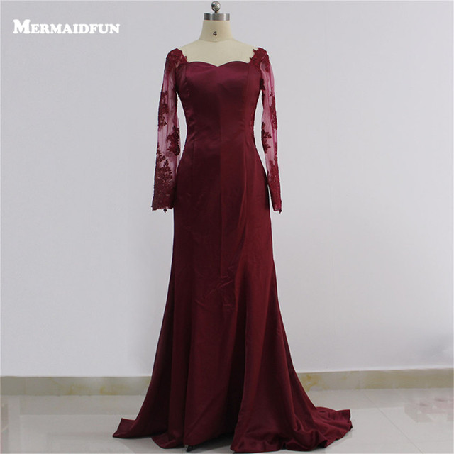 2018 Real Photos Mermaid See Through Long Sleeve Burgundy Evening ...