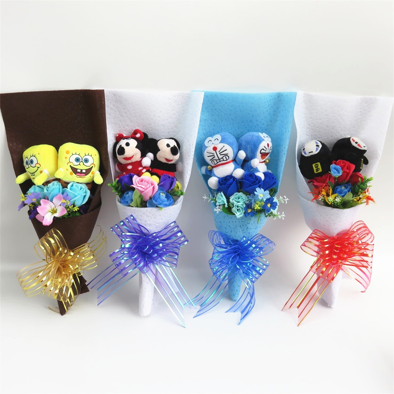 SpongeBob no face man micky mouse doraemon plush dolls toys with artificial flowers bouquets creative Valentine graduation gift