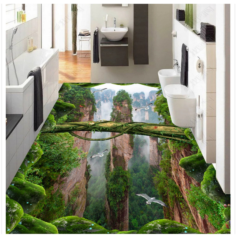 beibehang Personality self adhesive papel de parede wallpaper forest valley three dimensional bathroom kitchen 3d flooring paste in Wallpapers from Home Improvement