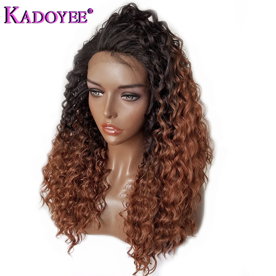 Brazilian Curly Lace Front Human Hair Wigs Ombre Color Remy Hair Lace Wig Pre Plucked Baby Hair Bleached Knots For Black Women