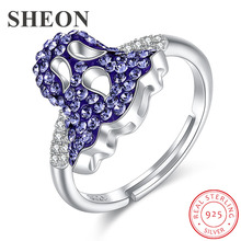 SHEON Ghost Vintage Crystal Ring Authentic 100% 925 sterling silver Open Adjustable Finger Wedding & Engagement Jewelry