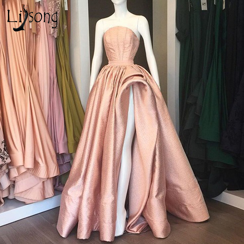 Sparkle Rose Gold Long Prom Dresses Sexy High Side Split A Line Prom