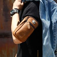 052418 new hot men small leather arm phone bag for running male mini purse