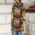 Chinese national style retro cotton stand collar frog long sleeve long blouses side slits long gown cheongsam