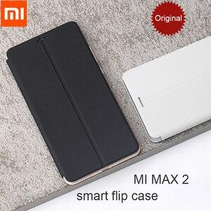 Image 2 - Capa 100% original xiaomi mi max 3, capa 2 inteligente de flip de couro genuíno/xiaomi mi max 3 max3 película protetora de vidro temperado