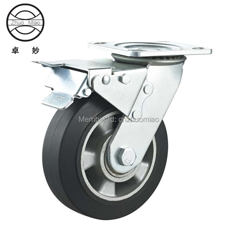 6 inch New style Heavy Duty  aluminum core rubber casters and wheels brake caster