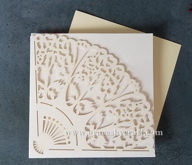 laser cut envo gratis forma de abanico de papel tarjetas de invitacin con papel