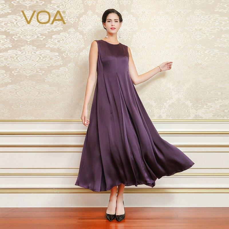 VOA Roxo Plus Size Do Vintage Fino Longo Das Mulheres Do Partido Roupas Vestido Sem Mangas de Seda Mancha Vestidos de Luxo vestidos de fiesta A6788