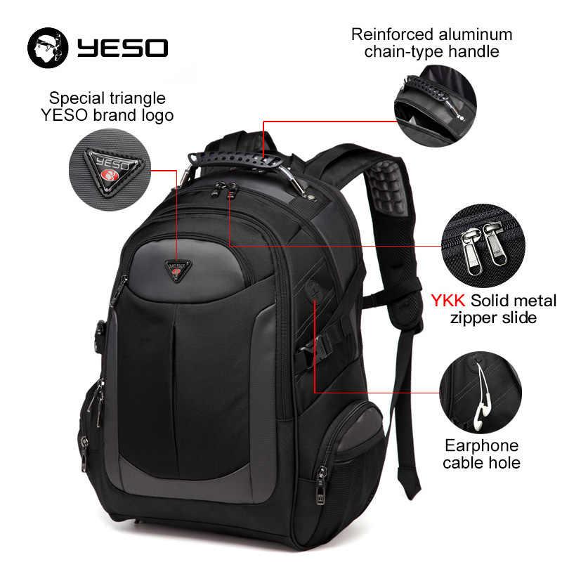 YESO бренд рюкзак для ноутбука Для Мужчин's дорожные сумки 2018 универсальный рюкзак водостойкий Оксфорд черный компьютер рюкзаки подростка