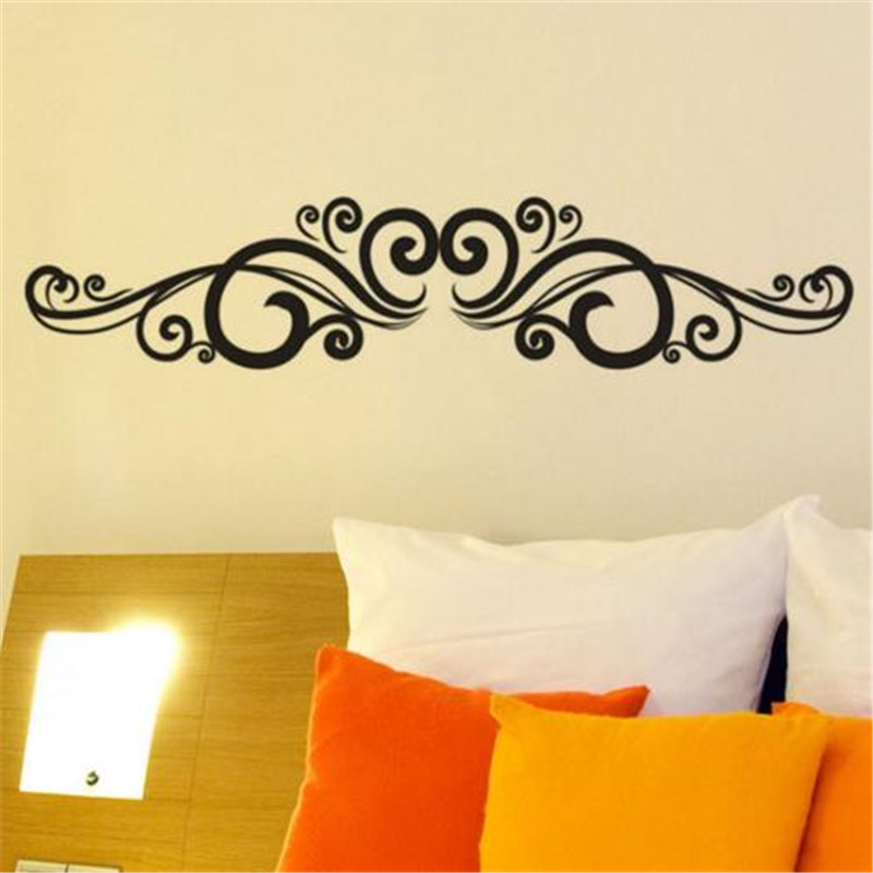 Symmetrical Swirl Flowers Wall Sticker Bedroom Headboard For Living Room Vinyl Wall Decals Home Decorations Accessories