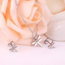 Stainless Steel Dragon Fly Necklace+Earrings Set
