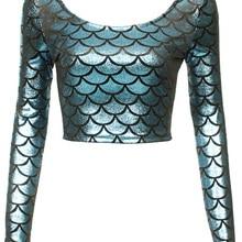 SexeMara KNITTING X-029 2015 new women t shirt sexy scale long sleeve tops digit