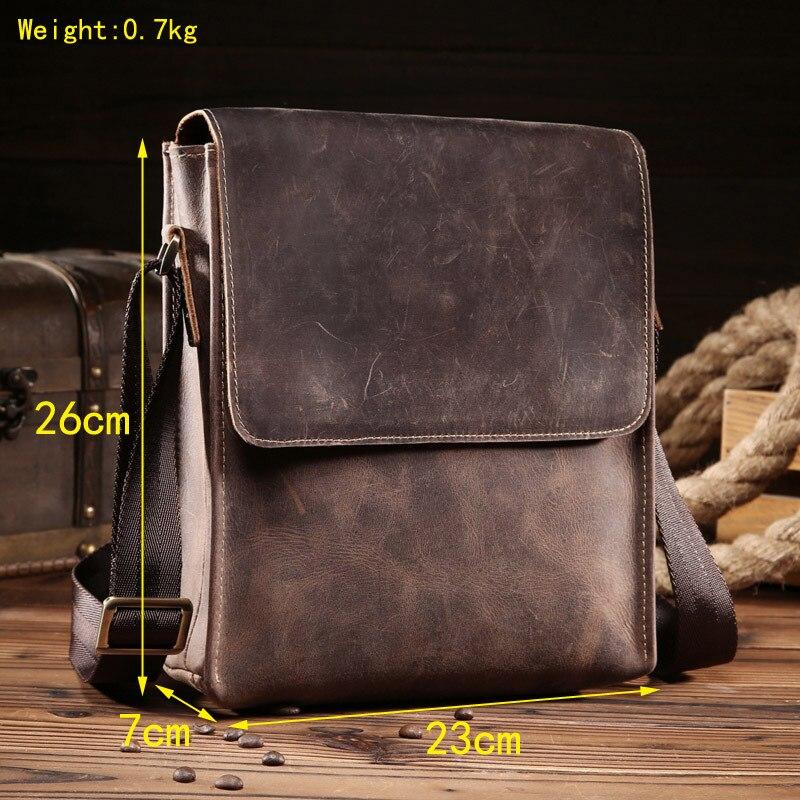 Bolsos de hombre loco caballo genuino de cuero Vintage bolsos cruzados para hombre iPad Messenger bolsa de los hombres de negocios bolso hombre - 3