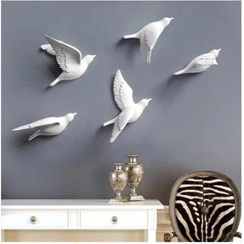 US $8.0  Resina uccello creativo della parete murales, decorazione della  parete, semplice tridimensionale adesivi murali camera da letto, TV sfondo  ...