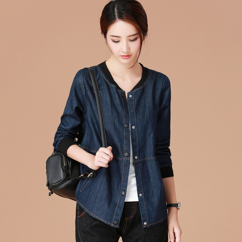Jean   jacket   2018 women female long sleeve autumn winter   basic     jackets   coat fashion blue ladies women denim   jacket   DD1694 S