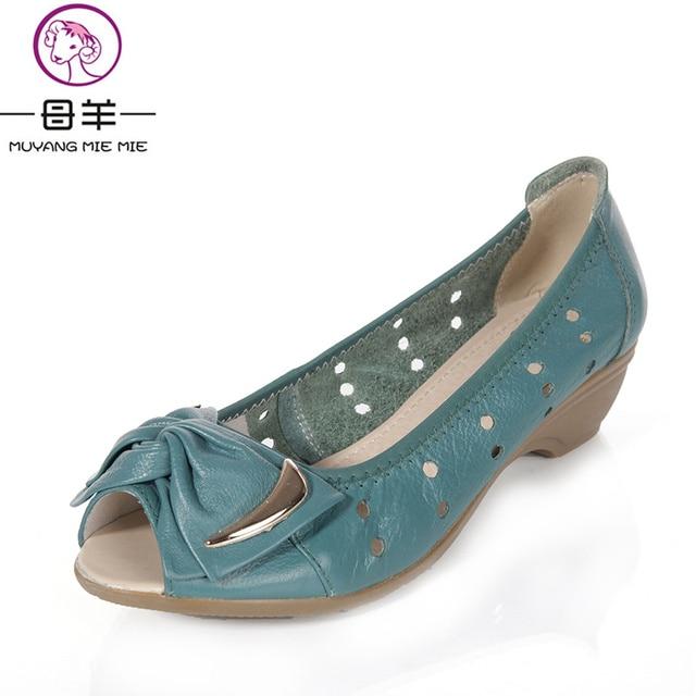 23470bc92248 Muyang китайский бренд 2017 Натуральная кожа босоножки на платформе женская  летняя обувь с бантом на
