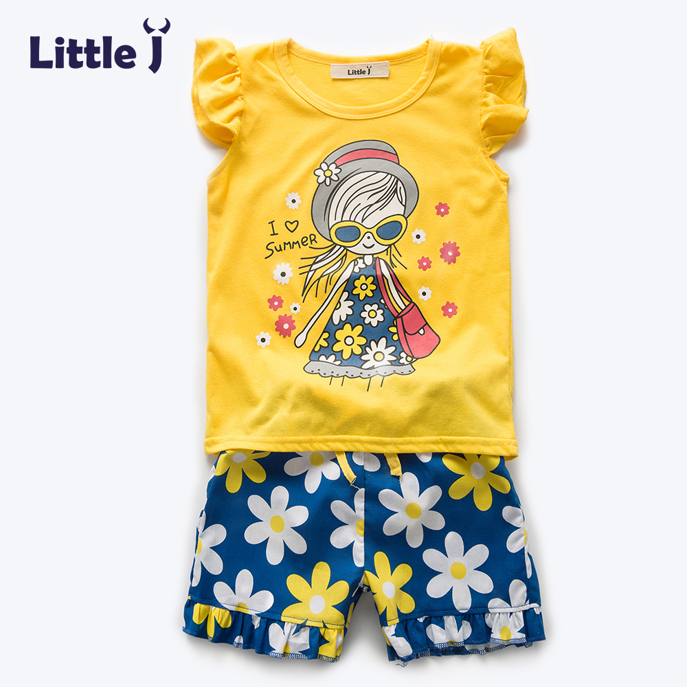 Little J Girl Summer Clothes Set Fashion Short Sleeve Character Flower T-shirt + Pants Kid Clothing Suits Girls Boutique Outfits family fashion summer tops 2015 clothers short sleeve t shirt stripe navy style shirt clothes for mother dad and children