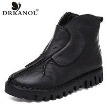DRKANOL Mulheres Flats Ankle Boots de Couro Genuíno Botas Martin Botas Outono Inverno Mulheres Quentes Sapatos de Plataforma Preto Botas Feminina