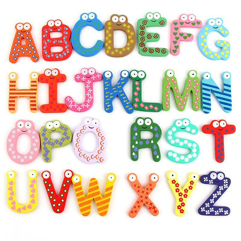 26 шт./компл. Алфавит заглавными буквами магнит на холодильник деревянные и магнитные наклейки мультфильм детские развивающие игрушки детск...