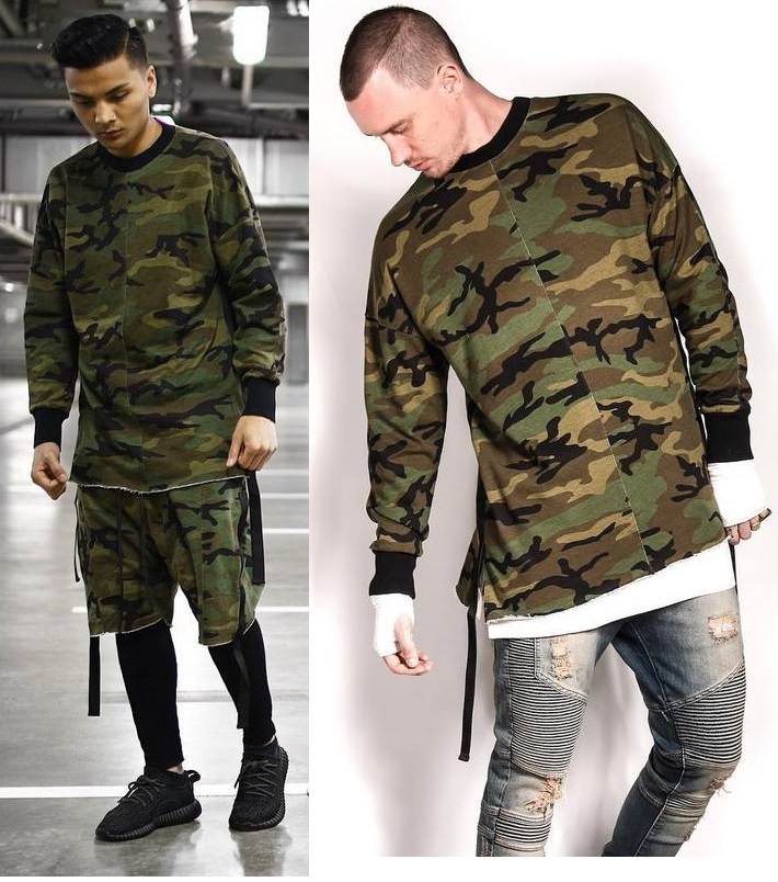e0a598d076f High Fashion Streetwear Mens Camouflage Long Sleeve T Shirts Drop Shoulder  Camo Oversized Side Split Tee