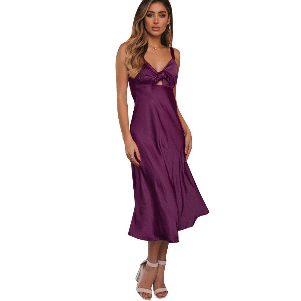 Fashion Ladies Womens Satin Long Nightdress Silk Lace Sleeveless Lingerie   Nightgown   Sleepwear   Sleepshirts   Maxi Dress