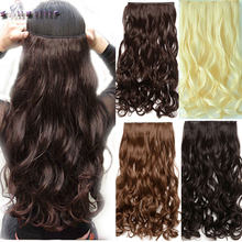 S-noilite 28 inches Curly Long Synthetic 3/4Full head Clip in Hair Extensions Black Brown Blonde Auburn Hair Extension One Piece(China)