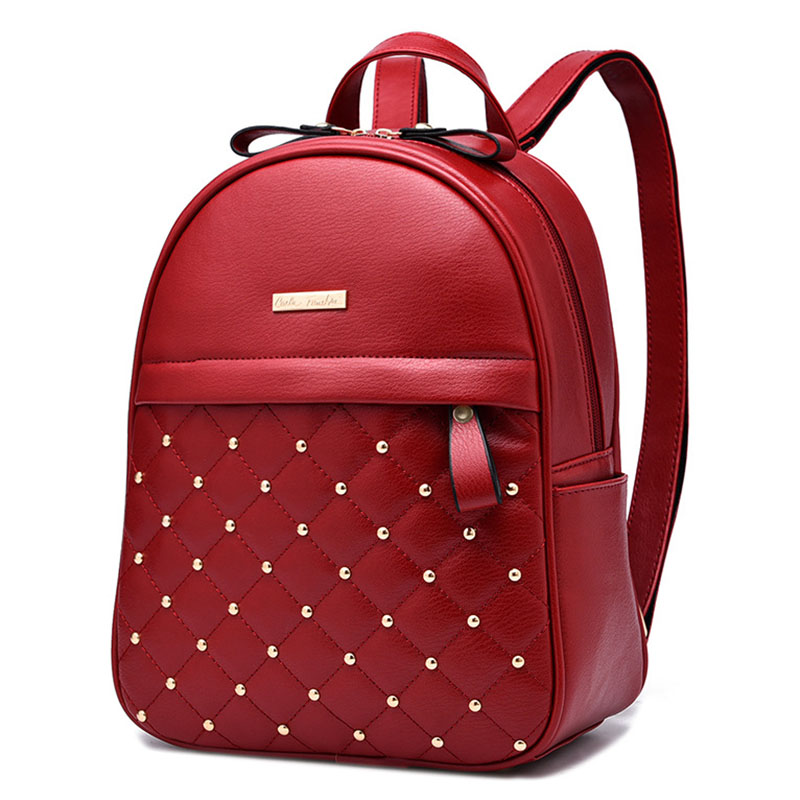 Hot Promotions! New Fashion Backpack Women Backpacks Leather Shoulder bag Women Casual Style Rivet Backpack Free Shipping