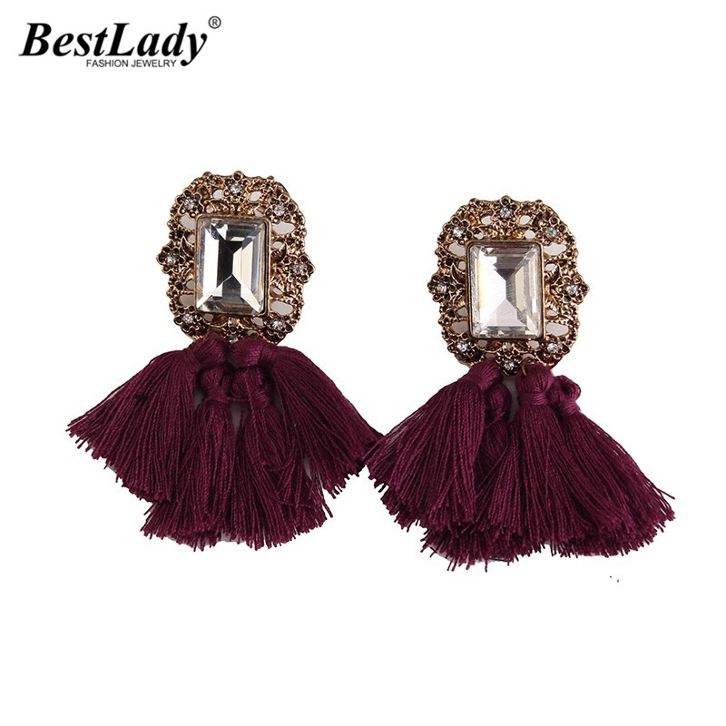 Best lady Hot Design Fashion Jewelry Wedding Big Long Earrings Vintage Tassel Statement Stud Earrings For Women Wholesale 4251