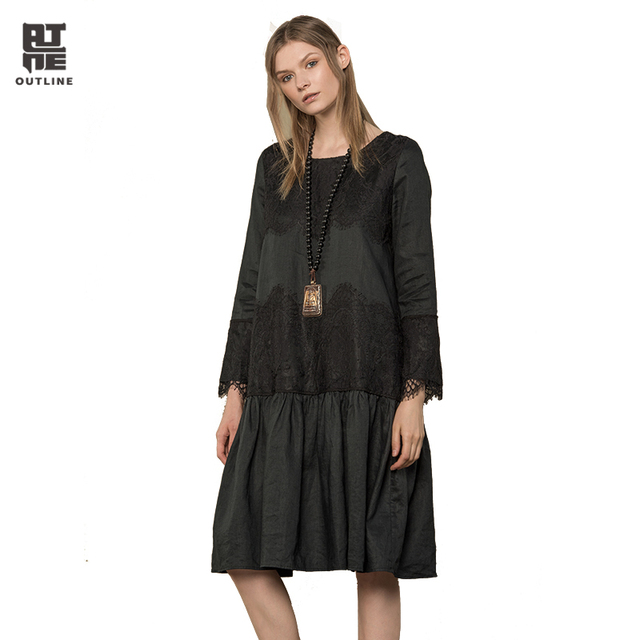 Outline Women Black Linen Dresses Vintage Plus Size O-neck Long-sleeve  Ruffles Lace Patchwork Loose Autumn Vestidos L173Y004