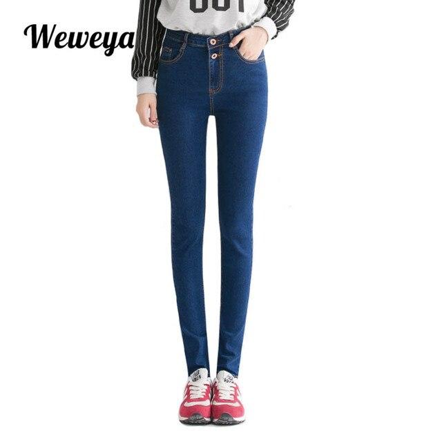 2750ece7f708b4 R$ 70.69  Weweya Jeans Mulher Lápis Ocasional Azul Denim Stretch Skinny  Jeans Plus Size Cintura Alta Jeans Preto Calças Capris Feminino em Calças  ...