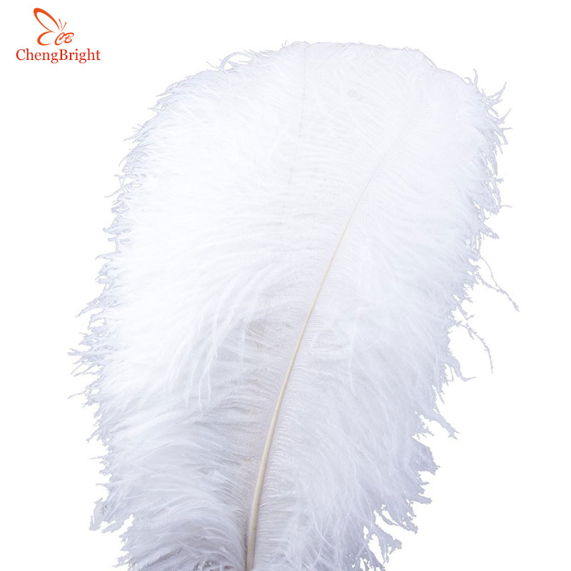 ChengBright 100Pcs/Lot Natural White Ostrich Feathers For Crafts 15-75CM Carnival Costumes Party Home Wedding Decorations Plumes