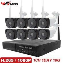 CCTV камера системы H.265 8CH беспроводной 1080P HD 20 м ночное видение аудио P2P водостойкий охранных Wi Fi Открытый IP системы