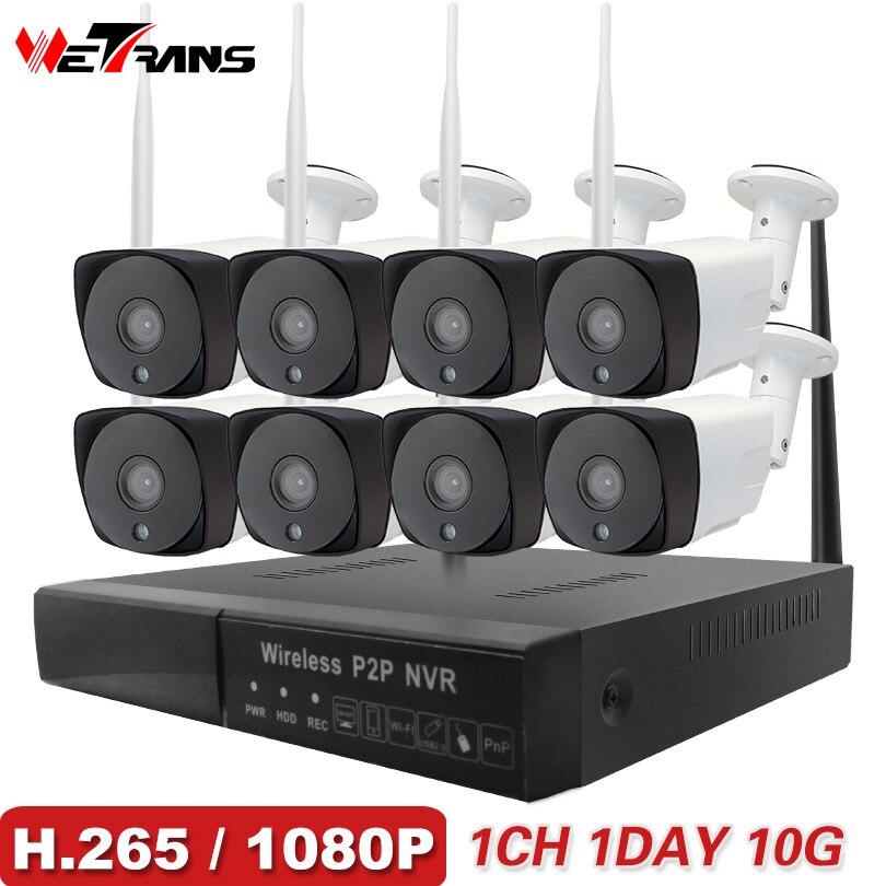 Macchina Fotografica del CCTV Sistema di H.265 8CH Senza Fili 1080 p HD 20 m di Visione Notturna Audio P2P Impermeabile di Sicurezza Domestica Wifi Esterna sistema di Telecamere ip