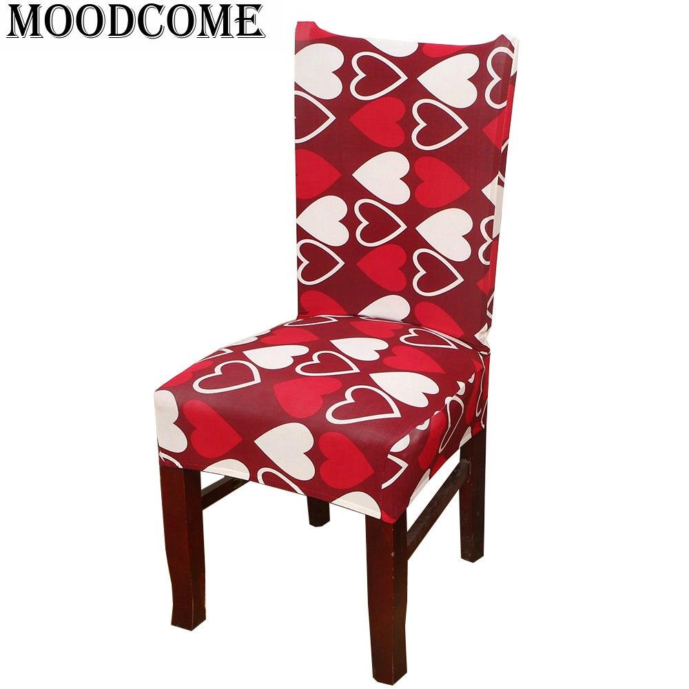 ᗖImpreso blanco rojo corazón Fundas para sillas spandex elástico ...