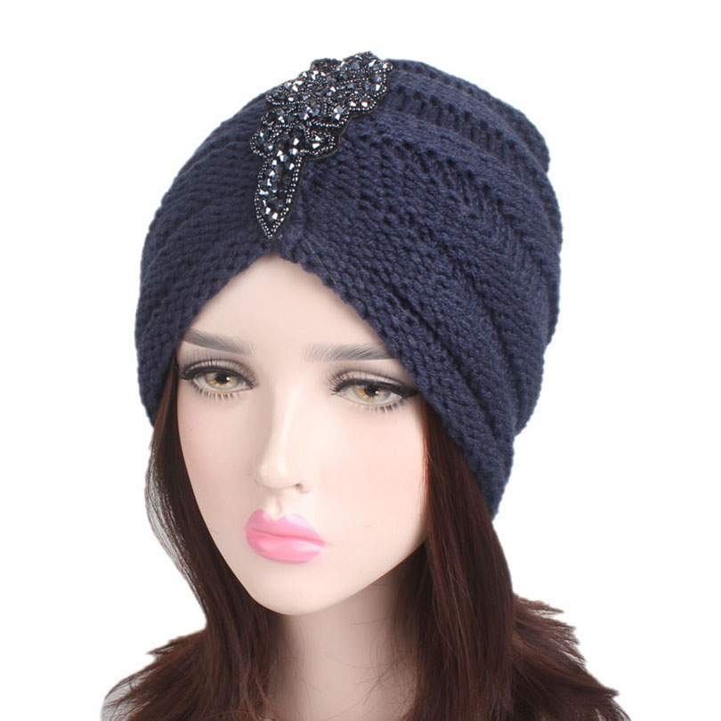 Haimeikang Fashion Knitted Beanie Headband Crochet Headwrap Crystal  Winter Warm Soft Turban Cross India Cap For Women