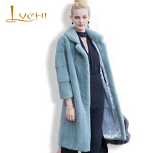 LVCHI 2017 Mink Coats New Arrival Winter Women's Real Silver Fox Fur Coat Natural Fox Color Nine Quarter Sleeve Outearwear