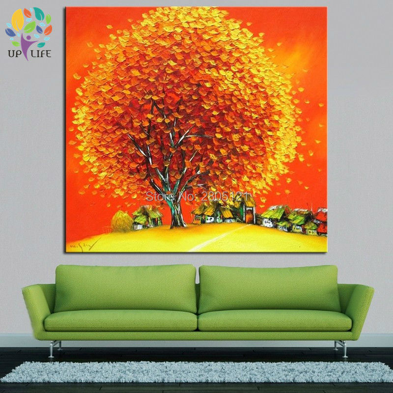 hand painted cartoon village landscape canvas oil painting yellow orange thick tree picture thick palette knife oil paintings