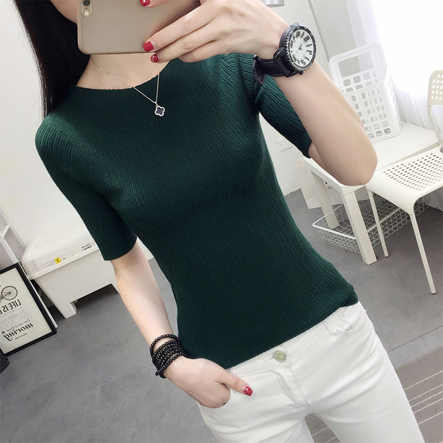 OHCLOTHING  new 2017 half sleeve cotton Crewneck sweater female sleeve head sleeve shirt five solid tight sweater thin repair