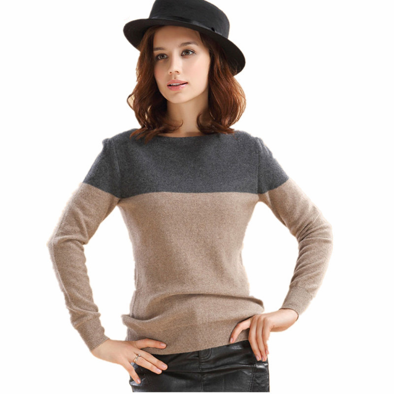2019 Hot Sale Women's  Cashmere Wool Blend Sweater Female Contrast Color O-Neck Basic Pullover Long Sleeve Free Shipping