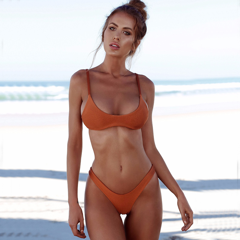 2eaf6d9e51191 Ariel Sarah Brand 2018 Solid Bikini Swimsuit Hot Swimwear Women ...