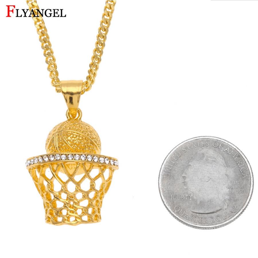 Hip Hop Gold/Silver Sports Jewelry Basketball Hoop Inlay Rhinestone Pendant Necklace Men Boyfriend Husband Ball Fans Alloy Gift