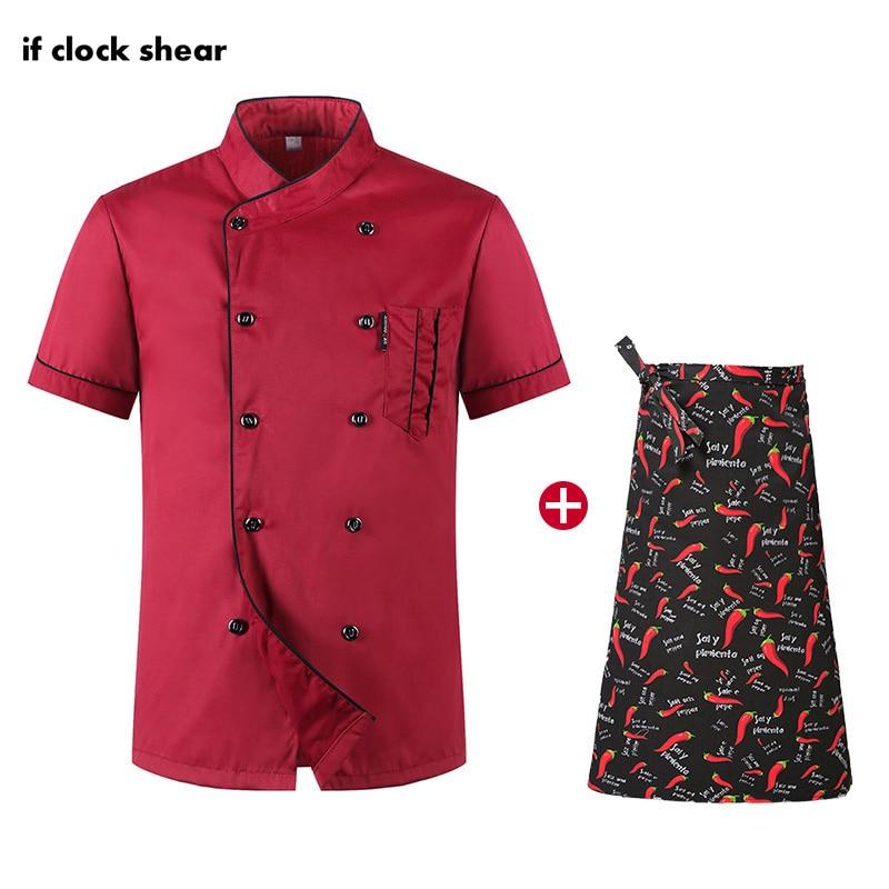 Unisex Restaurant Hotel Kitchen Workwear Chef Short Sleeve Set Breathable Thin Jacket+Apron Chef Uniform Coat Work Clothes Men