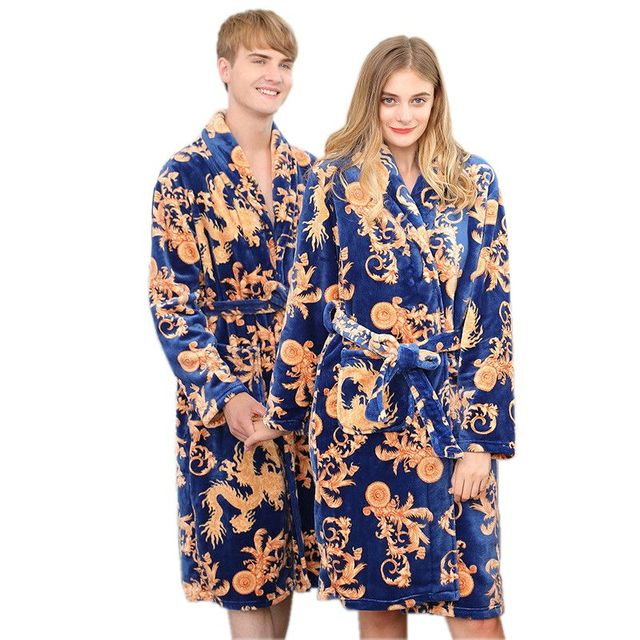 Couples Long Flannel Robe Women Gown Set Men Oversize Loose Home ...