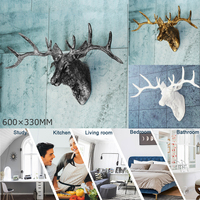 Animal Head For Living Room Wall Hanging Decoration Art Deer Head Resin Craft Home Decoration Accessories Statue