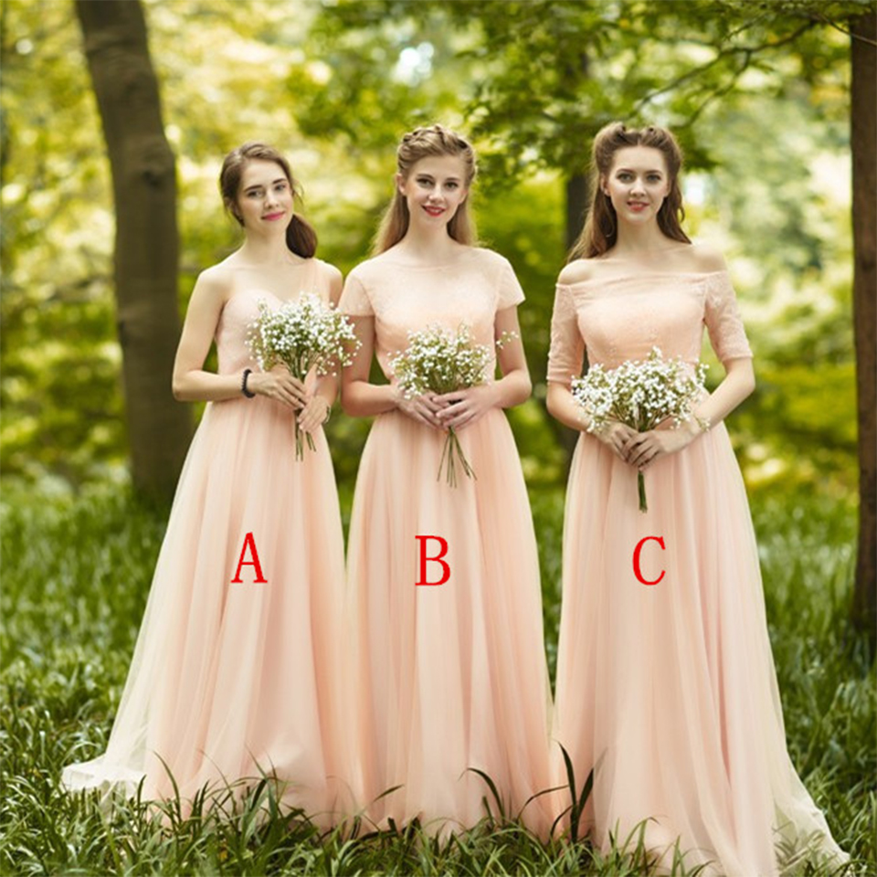 eef1af08acb Romantic Long Blush Bridesmaid Dresses With Sleeves Pleat Tulle Lace Cute Bridesmaid  Dress Boat Neck Empire Bridesmaid Gowns B49-in Bridesmaid Dresses from ...