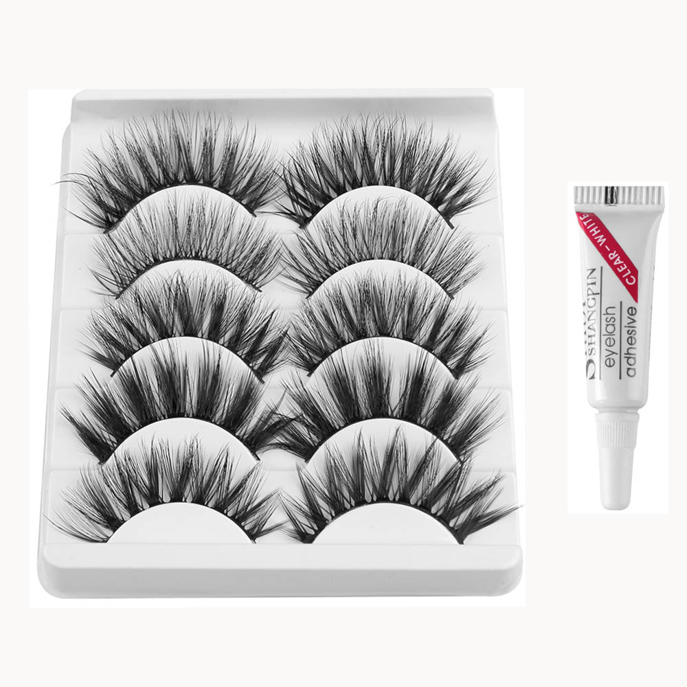 5 Pairs 3D Soft Mink False Eyelashes With Glue Wispies Mixed Styles Natural Long Mink Lashes Handmade Full Strips Eyelash Makeup