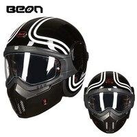 BEON последние 3/4 мотоциклетный шлем в стиле ретро модульная флип шлем capacete moto крест полный уход за кожей лица гонки casco