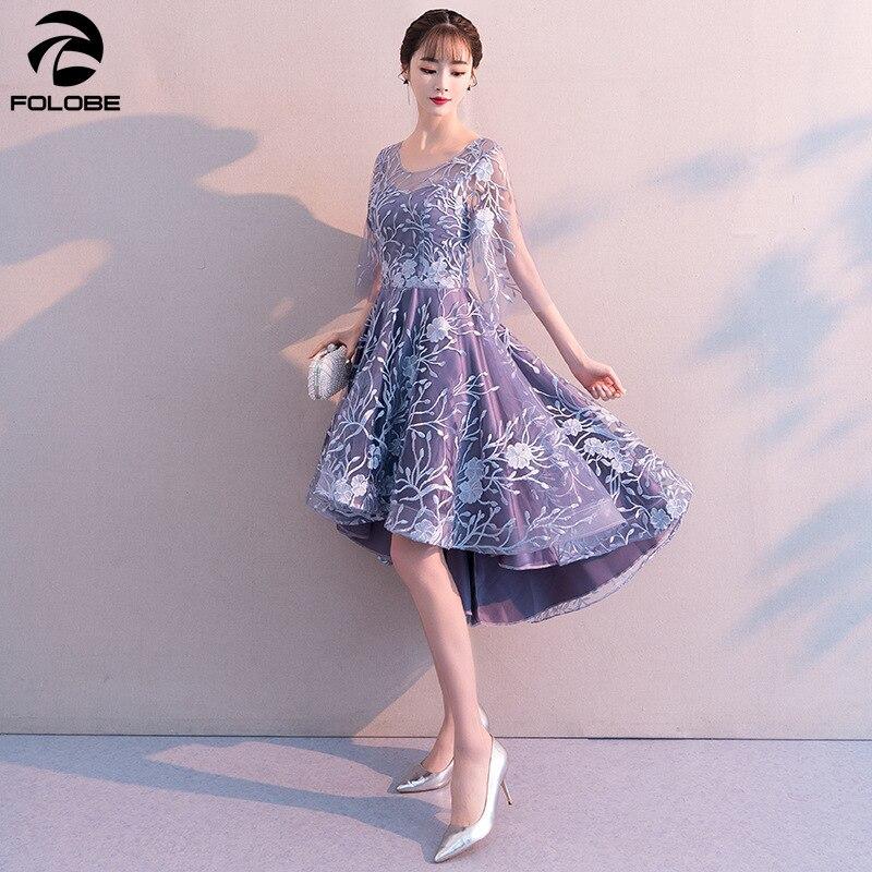 FOLOBE 2020 printemps élégant robe de soirée salut Lo bleu clair robes formelles demi manches broderie Banquet femmes robes vêtements - 4