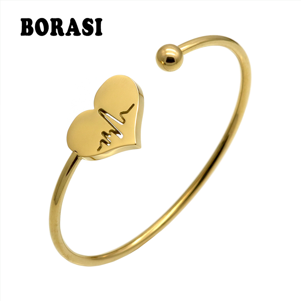 Fashion Stainless Steel Bangles & Bangles Hollow Heart Carved Electrocardiogram Charm Bracelets Jewelry For Women Love Gifts