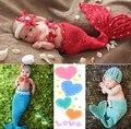 Bebé de tejer manual puro sirena sombrero fotografía accesorios bebé apoyo de la foto fijó 3 set/lote